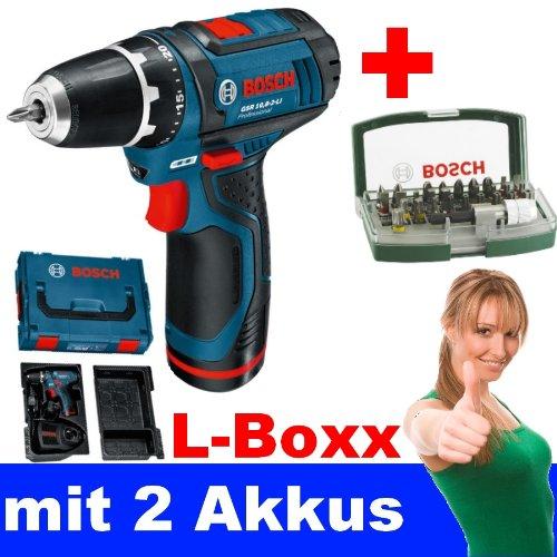 BOSCH Akkuschrauber GSR 10,8-2-LI mit 2 Akkus + L-Boxx + BOSCH Bit-Set 31 tlg.