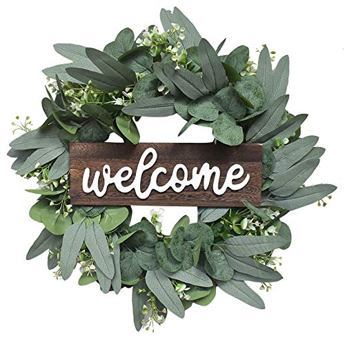 fasloyu Natural Garland Front Door Wreaths, 16.53' Welcome Sign, Artificial Greenery Hanging Wreath for Home Party Indoor Outdoor Window Wall Wedding Decoration (A)