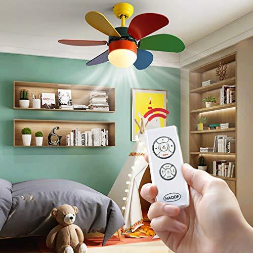 YIWEN Ventiladores De Techo con Lámparas Pantalla De Vidrio Luz De Techo LED Regulable con Control Remoto Ventiladores De Madera para Niños Lámpara De Techo,Rainbow