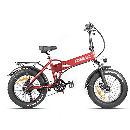 PASELEC Electric Bike Snow Beach Electric Bicycle 500W 48V 10.4Ah Battery Ebike for Adults & RV Power Recharge System 7 Speed with Fenders & Rack,Red