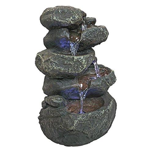 Design Toscano DW35127 Anchor Falls Rock Garden Decor Tabletop Desk Fountain Water Feature, 11 Inch, Full Color