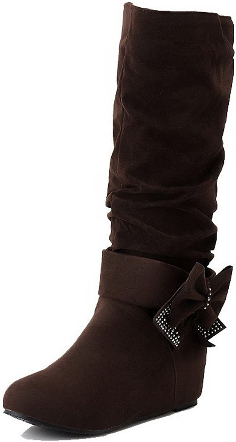 AllhqFashion Women's Round Closed Toe Kitten-Heels Frosted Mid-Top Solid Boots