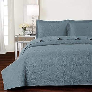 Mellanni Bedspread Coverlet Set Spa-Blue - BEST QUALITY Comforter Oversized 3-Piece Quilt Set (Full/Queen, Spa Blue)