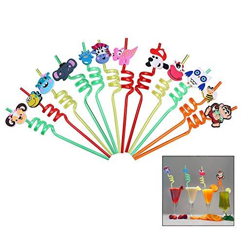 iwobi Pajitas Rizadas para Niños, Pajitas de Silicona Reutilizables 12 pajitas rizadas para Fiesta de Animales respetuosas con el Medio Ambiente, portátiles, Suministros de Fiesta de cumpleaños