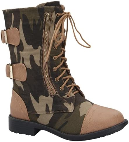 Top Moda Fab-45 Women's Mid Calf Camouflage Lace up Combat boot