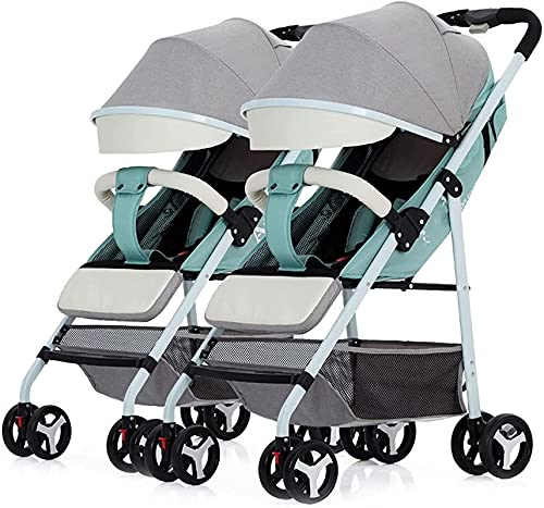 Cochecito de bebé cochecito de bebé cochecito de bebé para gemelos, cochecito portátil liviano de 0 a 4 años con 2 asientos y toldos extensibles dobles