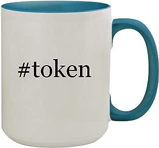 #token - 15oz Hashtag Ceramic Inner & Handle Colored Coffee Mug, Light Blue
