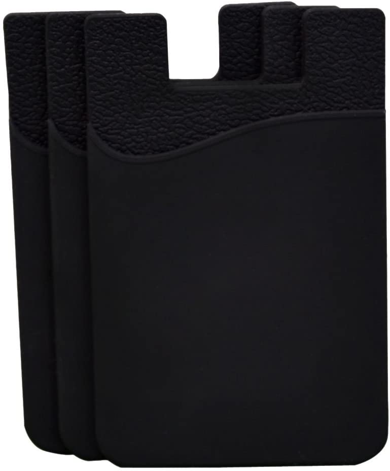 Phone Card Holder Cell Phone Pocket iPhone Wallet Adhesive Credit Card Sleeve Stick-on Wallet on The Back of Phone/Case of iPhone,Samsung,LG,BLU,Piexl,Moto,(Black 3pack)