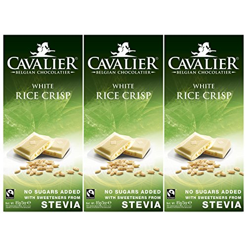 Stevia-Schokolade, Cavalier Belgian Chocolate 'Rice Crisp White' 3 x 85g