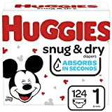 Huggies Snug & Dry Diapers, Size 1, 124 Ct