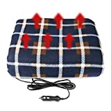 Manta eléctrica para coche MRCARTOOL de 12 V, tela escocesa azul para días fríos y noches, viaje por carretera, hogar y camping cómodo protector