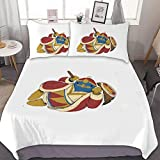 OXOFDTZCV Kin+g Ded-edefunny Soft and comfortableBedding Set of 3 (1 Cover, 2 Bed Pillowcase Without Sheet) White-style5