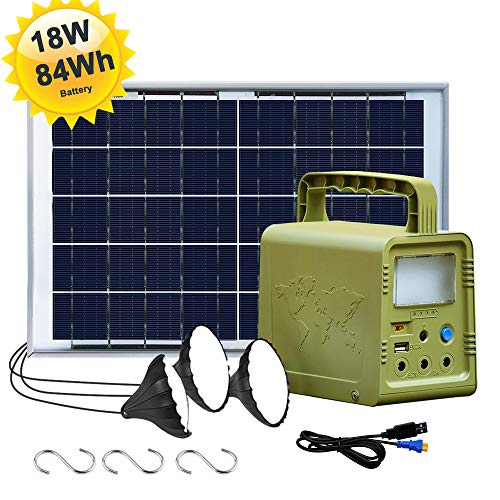 ECO-WORTHY 84Wh Battery Solar Power Generator Lighting System Kit, Portable Power Station with 18W...