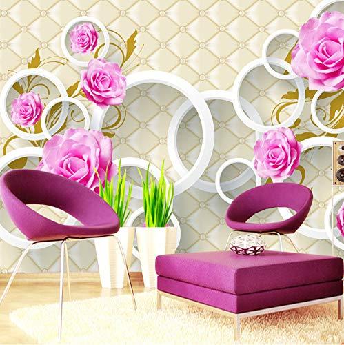 Mznm op maat bedrukt, behang, Europese stijl, rozenbloesem, 3D-zacht hoesje lederen tv, achtergrondmuurpapier, woonkamer, slaapbank, slaapkamer 400 x 280 cm.
