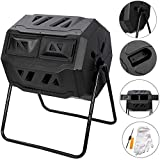 Large Composting Tumbler 43 Gallon Capacity Composter, Dual Chamber Compost Bin Outdoor Rotating Garden Yard Waste Bins