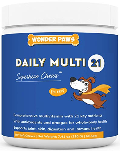 Premium Multivitamin For Dogs – Daily Multi For Immune, Mood, Joint, Skin, Heart & Digestive Health - 21 in 1 Dog Multivitamins For Optimal Health – Essential Dog Vitamins - 60 Multivitamin Dog Chews