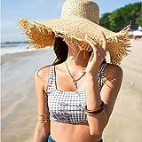 Sombrero De Playa para Sombrero De Sol De Verano para Mujer con ala Grande Sombrero De Paja De Rafia para Mujer con Flecos Sombreros De Playa Grandes para Vacaciones Sombrero