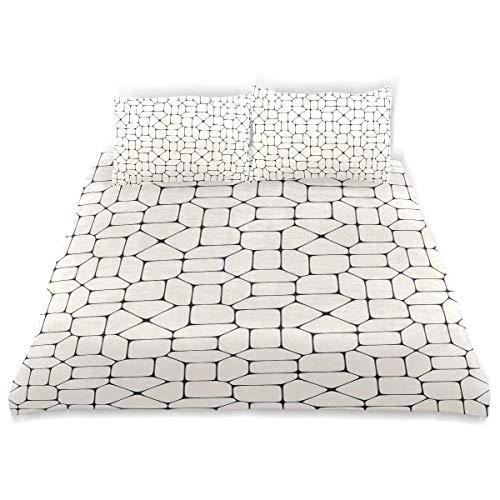 Juego de funda nórdica Pavimento de mosaico blanco y negro Ladrillos de baldosas Diseño de tracería conceptual moderno Juego de cama decorativo de 3 piezas con 2 fundas de almohada Cuidado fácil Antia
