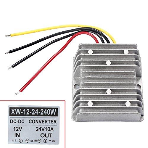 12 V auf 24 V Ladeumwandler, 10 A 240 W DC-DC Netzteil, Spannungswandler, Adapter, Regler für Auto, LKW, Fahrzeug, Boot, Solaranlage