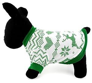 Zunea Pet Vêtements Vêtements pour chiens de petite taille Chat 100% coton T-shirt pour homme Imprimé Renne de Noël Style Vert