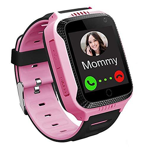 GPS Track Watch para niños - SmartWatch Phone con localizador GPS/LBS Cámara SOS Linterna Chat de Voz Juego de matemáticas Contador de Pasos Geo Fence para niños Chicas Cumpleaños Regalos (Rosa)