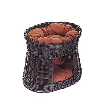 Lit,niche en osier gris-brun avec coussins roux pour chat, Panier ovale, maison en osier à deux étages, tour pour chat