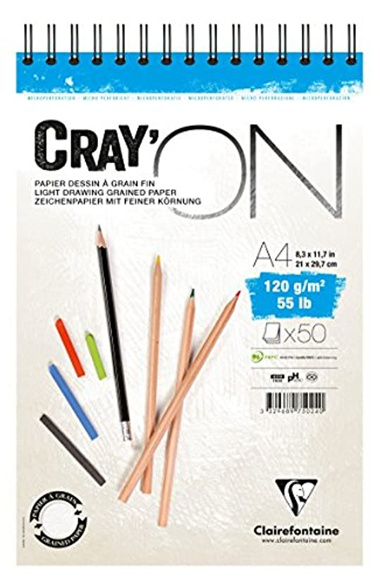 Clairefontaine Cray'On White Sketch Pad, Wirebound, 120 g, A4, 50 Sheets