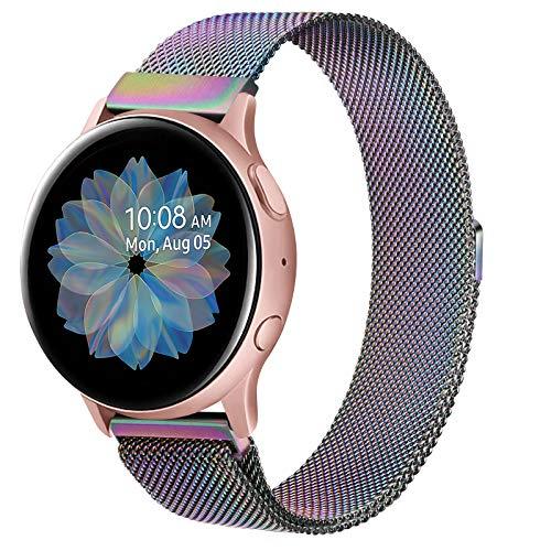 Oumida - Correa compatible con Samsung Galaxy Watch Active2/Active, 20 mm, acero inoxidable trenzado para Samsung Galaxy Watch Active/Galaxy Watch Active2/Gear S2 Classic (20 mm, colorido)