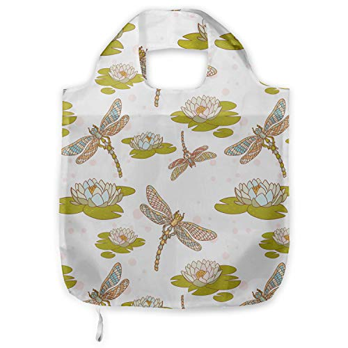 ABAKUHAUS Libelle Tragetasche aus Stoff, Lotus Blume, Praktische Altagsmode Einkaufstaschen, Apfelgrün Creme