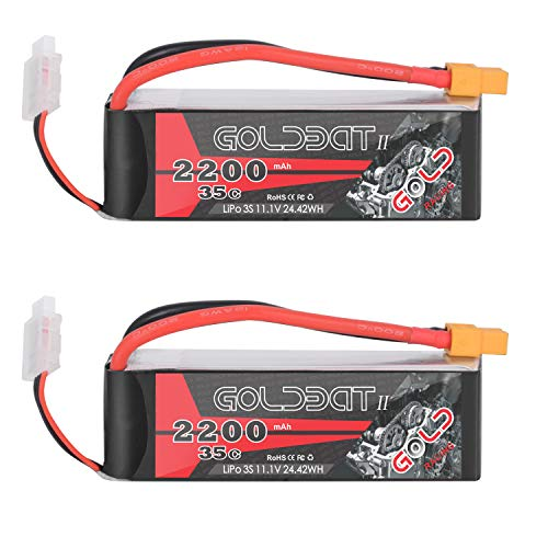 GOLDBAT 3S 11.1V 35C 2200mAh Lipo Battery with XT60 and Deans Plug for RC Evader BX Car Truggy Truck RC Airplane Quadcopter Helicopter (2 Packs)