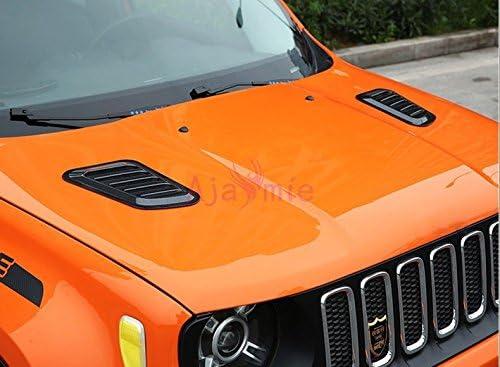 Black for Jeep Renegade 2014-2019 OMAC Decorative Air Flow Intake Scoop Bonnet Vent Hood 2 Pcs