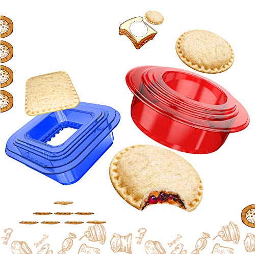 Sandwich Cutter and Sealer for Kids 2 Pack, Tribe Glare Bread Uncrustable Maker Press with Four Different Size Great for Bento Box Lunch Box Blue & Red