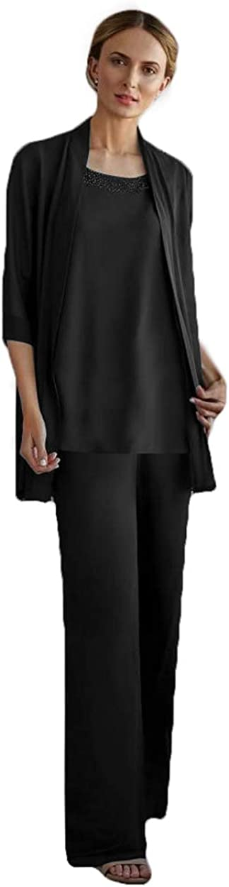 HYC 3 Pieces Mother of The Bride Pants Suits Chiffon Sequins Jewel Neck Long Sleeve Mother's Dress Prom Wedding Guest Wear