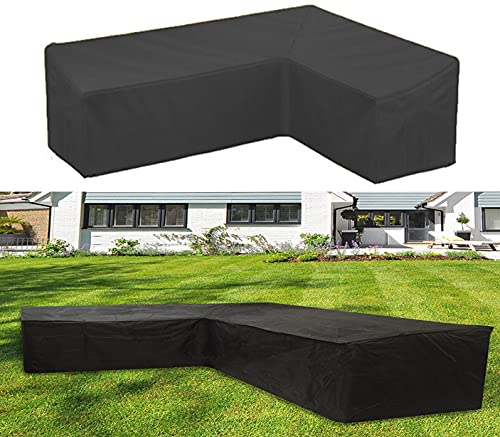 ZG-HOME Cubierta Protectora para Sofá De Esquina,Cubierta De Lona para Sofá De Jardín En Forma De V, Muebles De Jardín En Forma De L,Cubierta para Lluvia para Muebles DeVtype300x300x98cm