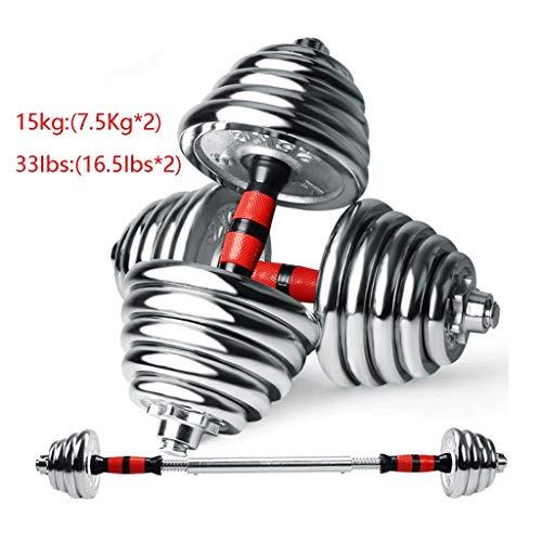 2 In 1 verzinkt Halter Halter Household Gym Fitness 15kg Dumbbell Mannen Exercise Equipment Milieuvriendelijk Afneembare (Color : 15 kg/pair)