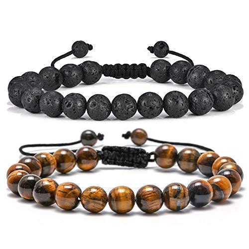 Lava Rock Mens Bracelet Gifts - Natural Tiger Eye Black Lava Rock Stone Mens Anxiety Bracelets, Adjustable Aromatherapy Essential Oil Diffuser Healing Bracelet Grandpa Gifts Unique Gifts for Men