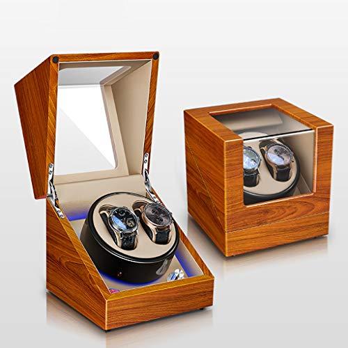 Cajas Giratorias Watch Winder Caja de enrollador de Reloj automático, Estuche de Madera de Lujo, Caja de Almacenamiento, Pintura de Piano, 5 Modos de rotación, Motor silencioso, luz Ambiental de LED,