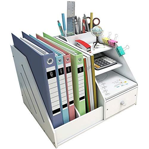 Madera plástico panel Organizador de escritorio, Funcionario inicio papelería Escritorio Estante de libro Estante de archivo Organizador de pluma Portalápices-Blanco 34x24x28cm(13x9x11inch)