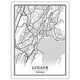 SKYROPNG Leinwand Bild,Schweiz Lugano Stadt Karte Kunst