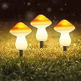 NLRHH Lámpara solar de hongos, impermeable en forma de hongo lámpara de césped con luces solares para jardín, iluminación de decoración de camino