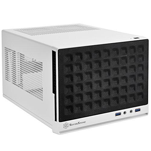 SilverStone SST-SG13WB - Sugo Mini-ITX Compact Computer Cube Case, pannello frontale con Mesh, nero bianco