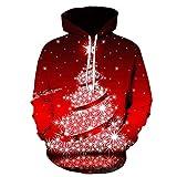 KPILP Herren Weihnachten Kapuzenpullover Damen Herbst Winter 3D Printing Weihnachtspullover Oversize...