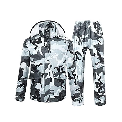 AdorabFruit Chubasquero y pantalones de lluvia para hombre, camuflaje y lluvia, con ala transparente, para mujer, hombre, (color: gris oscuro, tamaño: XXL)