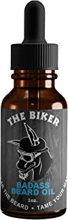 Badass Beard Care Beard Oil For Men - The Biker Scent, 1 oz - All Natural Ingredients, Keeps Beard and Mustache Full, Soft and Healthy, Reduce Itchy, Flaky Skin, Promote Healthy Growth