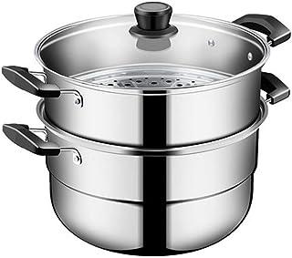 ollas para cocer al vapor grande Pasta cacerolas para induccion,Cocina de inducción engrosada doméstica de acero inoxidable 304 Universal 2 capas 28cm