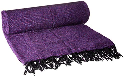 YogaDirect Solid Color Deluxe Mexican Yoga Blanket, Purple .