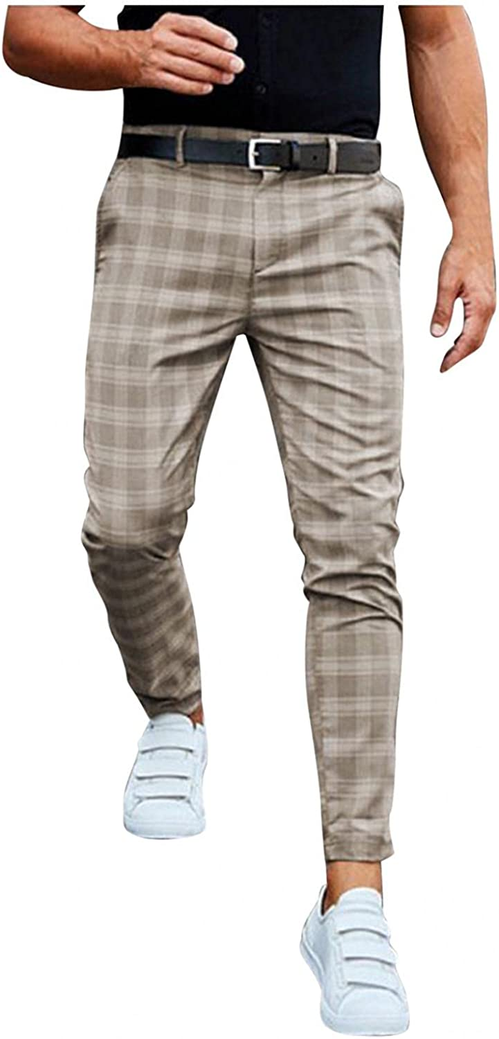 FUNEY Mens Slim Fit Stretch Flat-Front Skinny Dress Pants Plaid Striped Printed Checked Classic Elegant Business Chino Pant