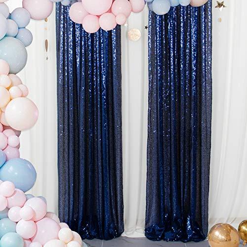 Sparkle Backdrop Curtain Navy Blue 2 Panels Set Sequin Photo Backdrop 2FTx8FT Sequin Backdrop Curtain Pack of 2 -1220S
