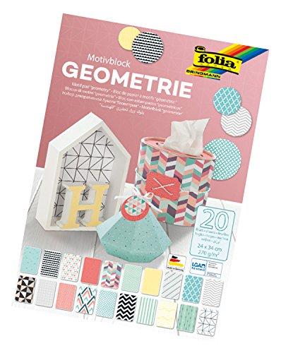 folia 48449 - Motivblock Geometrie, 270 g/qm, ca. 24 x 34 cm, 20 Blatt sortiert in 20 verschiedenen Motiven - zum Basteln und kreativen Gestalten von Karten, Fensterbildern und für Scrapbooking