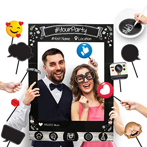 Insta-Themed Social Media Party Photo Booth Frame with Emoji & Personalized Speech Bubble Props. Great as Vintage Background Photography for Birthday  Anniversary  Wedding Supplies Event Decoration
